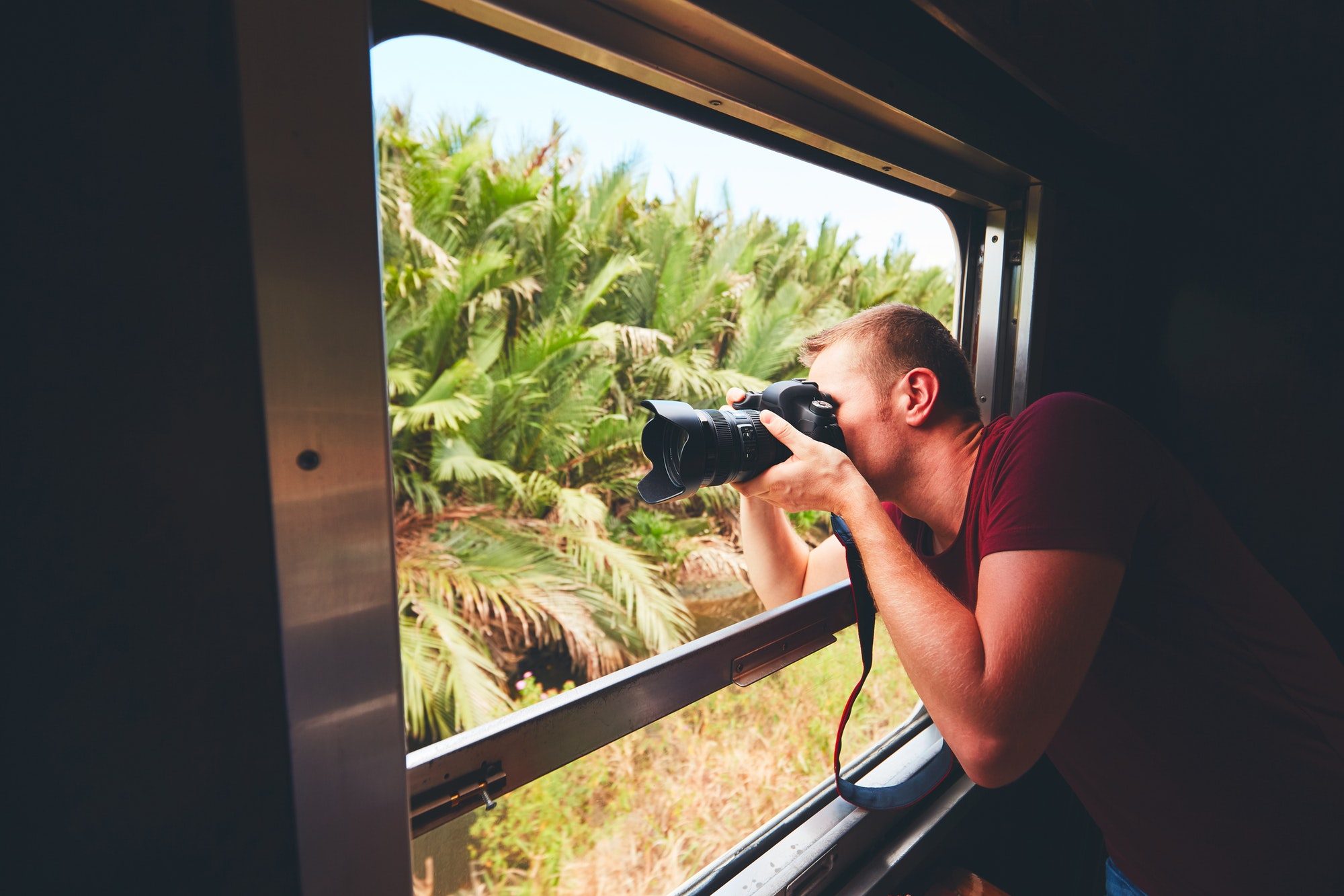 Man traveling by historical train